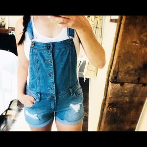 637ace1a132c ... True Craft medium sexy distressed short overalls ...